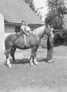 Bauernhof in Pommern 1938 Kinder reiten